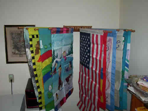 flag racks with flags open